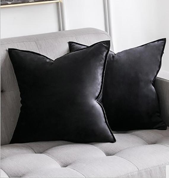 Luxury Fashion Black Velvet Cushion Cover Green Blue Gray Pink Pillow Cover Pillowcase Home Decorative Sofa Throw Pillows Seat