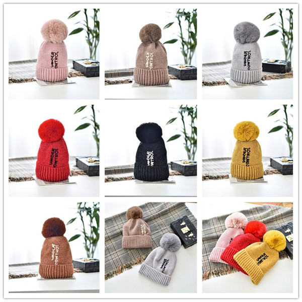 Chenille Soft Knitted Hat Women Pompom Embroidred Letters Wool Hat Winter Inside Plush Warm Hats Outdoor Trendy Beanies 60 Pieces DHL