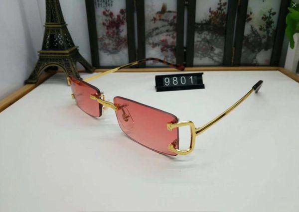 lunettes de corne de buffle rouge sans monture fashion retro vintage mens lunettes de soleil griffées cadre brillant logo léopard femmes top qualité avec boîte