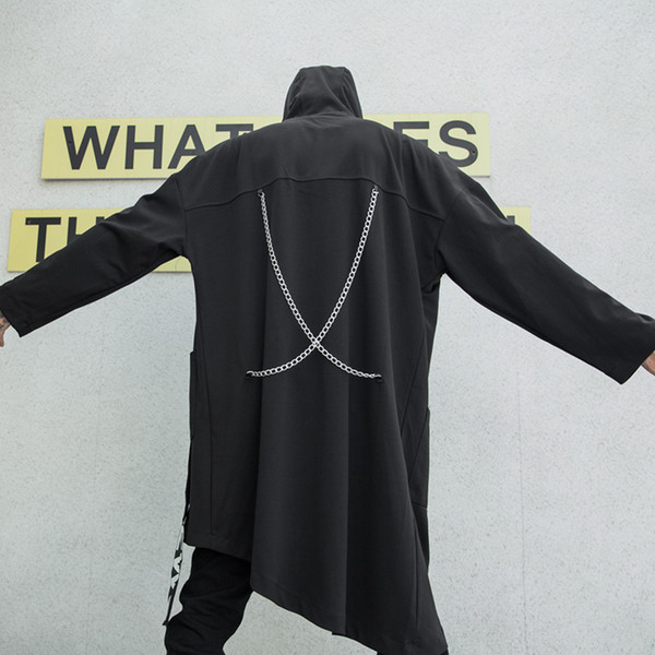 Outono inverno homens personalidade hem irregular design longo trench coat com correntes dos homens do vintage com zíper cardigan jaqueta hip hop