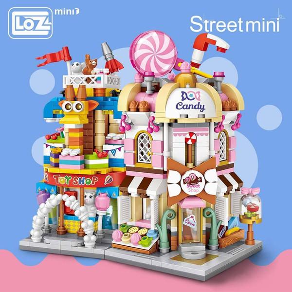 Loz Mini Ladrillos Vista de la ciudad Escena Mini Street Model Building Block Toys Juegos de azar Tienda de dulces Tienda de juguetes Arquitectura Niños Diy J190720