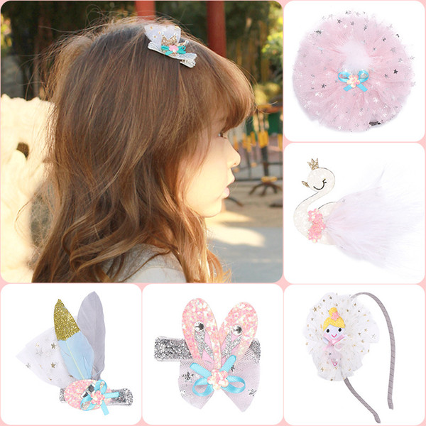 Crianças estrela de prata Glitter malha grampos de cabelo crianças Crown Swan ballet bebê menina headbands princesa Barrette Hair Sticks Hairbands