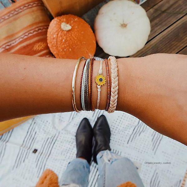 5 Pcs / set Bohème Coloré Rétro Tournesol En Cuir Perlé Corde À La Main Bracelet Tissé Ensemble Femmes Partie De Mariage Bijoux Accessoires
