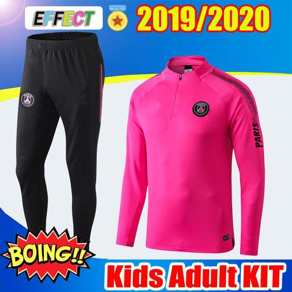 2020 2018 2019 PSG Pink Air Training Suit Adult Kit Survetement MBAPPE Kids 181920 Paris Saint Germain AJ Tracksuit Football Survetement Kits From