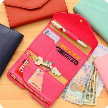 Multifunción PU monedero de cuero sobre triple plegado pasaporte paquete de viaje Rfid Bloqueo cubierta titular de la tarjeta embrague z303