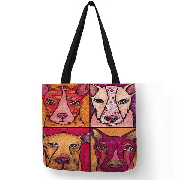 Abstract Oil Painting Fashion Lady Shoulder Bag Funny Dog Collage Print Handbag Large Capacity During Shopping Traveling Bags