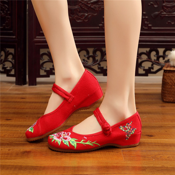 cozy women shoes high heel 2019 new casual shoes for women increase internal Classical Style Mom's Canvas Shoes X87