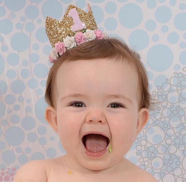 Ücretsiz nakliye 30pcs Bebek Kız Erkek Bir 1 2 3 4 5 6 7 8 9 Yaşında Doğum Şapka Taç Bantlar Doğum Günü Partisi Dekorasyon Saç Dekoratif