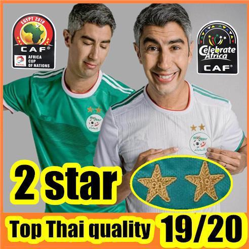 2 Stars 2019 Africa Cup Argélia camisa de futebol MAHREZ FEGHOULI SLIMANI BRAHIMI camisa de futebol de futebol 19 20 Argélia maillot de foot
