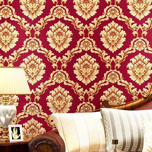 European Style Pvc Wallpaper Luxury Damask 3d Stereoscopic Relief Damascus Bedroom Living Room Wall Paper Home Decor Paper Free 3d Wallpaper Free 3d
