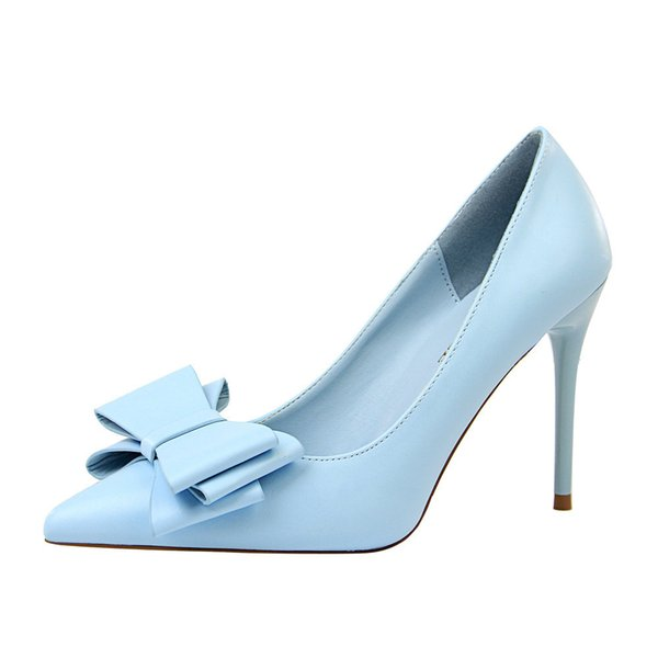 Dress Korean Sweet High Heels Stiletto Shallow Mouth Pointed Candy Color Bow Women's Single Shoes 2019 New Simple Elegant Women Shoes