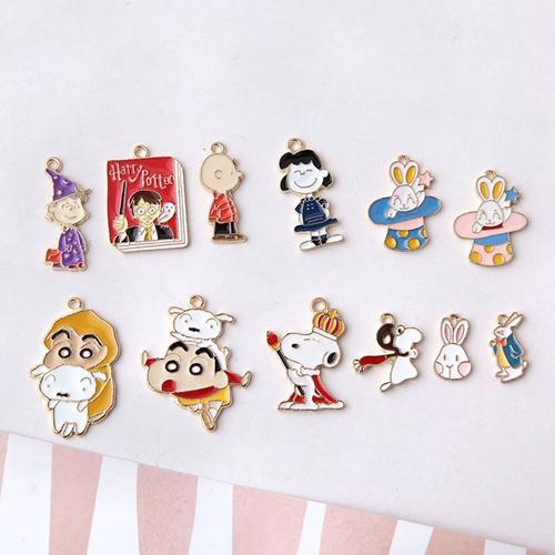 Enameled Cute cartoon character rabbit monkey dog charm pendant, earring bracelet necklace handmade findings , jewelry findings