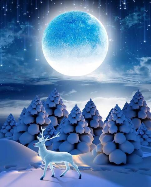 3D Custom Modern Photo Wallpaper Mural Painting Winter forest moon night landscape For Living Room Bedroom TV Background Home Decor Paper