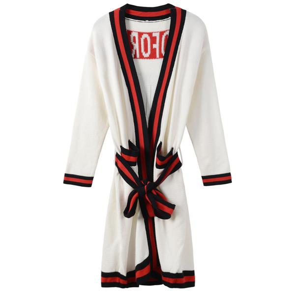 Cardigans Marque Tête de Tigre Broderie Paillettes Pulls Femmes DH0161 Livraison Gratuite 2017 Noir / Blanc / Vert À Lacets Long Femmes Cardigans