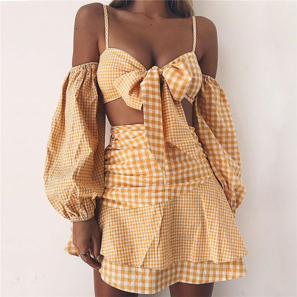 New hot summer chiffon check Europe and the United States sexy two-piece set of bubble sleeve skirt set, free shipping