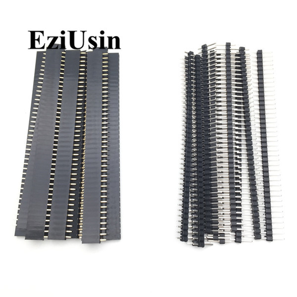 top popular Cheap Connectors 20pcs 10 pairs 40 Pin 1x40 Single Row Male and Female 2.54 Breakable Pin Header PCB JST Connector Strip 2021