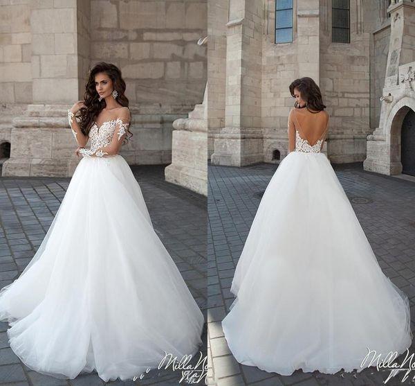 Milla Nova 2019 Wedding Dresses A Line Sheer Jewel Neck Backless Long Sleeves Garden Beach Wedding Dress Tulle Bridal Gowns Cheap Plus Size