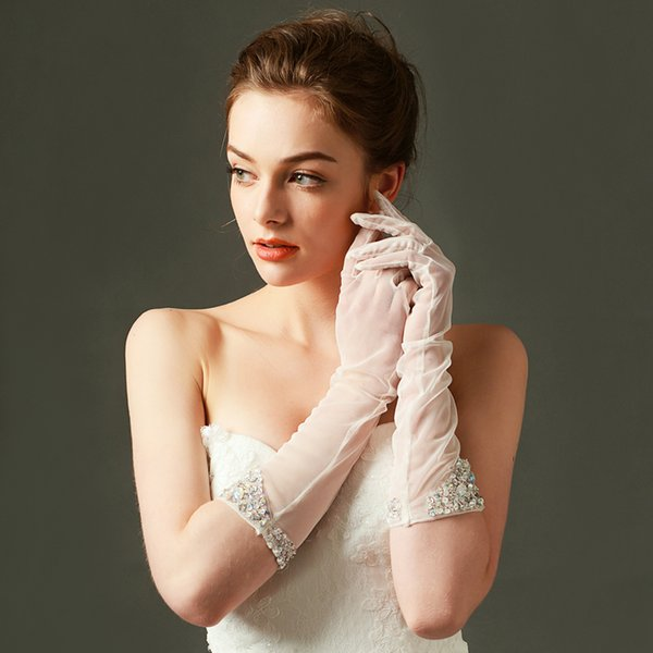 Beads sequins wedding gloves below elbow length full finger bride gloves with sequins beads hot sale new cheap wedding glove free shipping