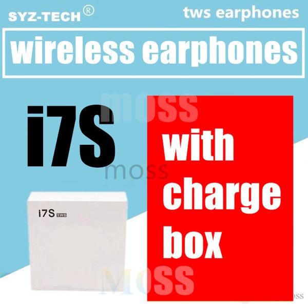 I7 I7S TWS Twins Auricolari Bluetooth Mini auricolari wireless Cuffie con microfono Stereo V4.2 Cuffie con scatola caricabatterie bianca di alta qualità