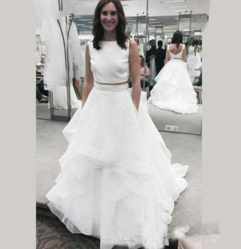 Beach Bridal Gowns Fitted Boho Wedding White Two Piece Wedding Dresses Boat Neck Ruffles Tassel Organza Low V Back Summer Train Bridal Dress