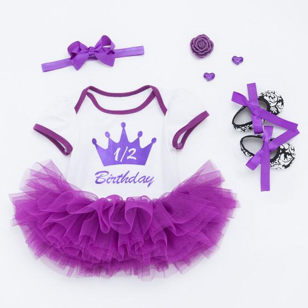 Bebek 1st Doğum Günü Prenses Tutu Etek 0-24 Ay Yenidoğan Bebek Tulum Elbise Mor Taç Tulum + Mor Tutu etek + Ayakkabı + Kafa = 4 Adet / takım