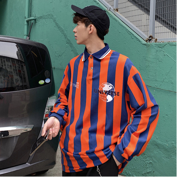 2019 Spring And Summer New Korean Version Of The Campus Wind Couple Long-sleeved Trend Casual Striped Retro Shirt M-XL