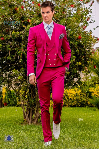 Hot Pink Wedding Tuxedos Slim Fit Suits For Men Groomsmen Suit Three Pieces Cheap Prom Formal Suits (Jacket +Pants+Vest+Tie)NO:843
