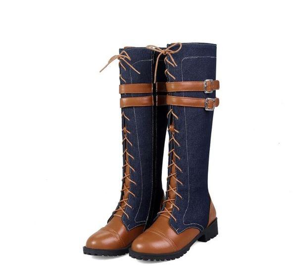 Цена по прейскуранту завода Женские сапоги 2018 на низком каблуке осень зима колено сапоги качество высокой джинсовой пряжки ремня сапоги мода плюс размер