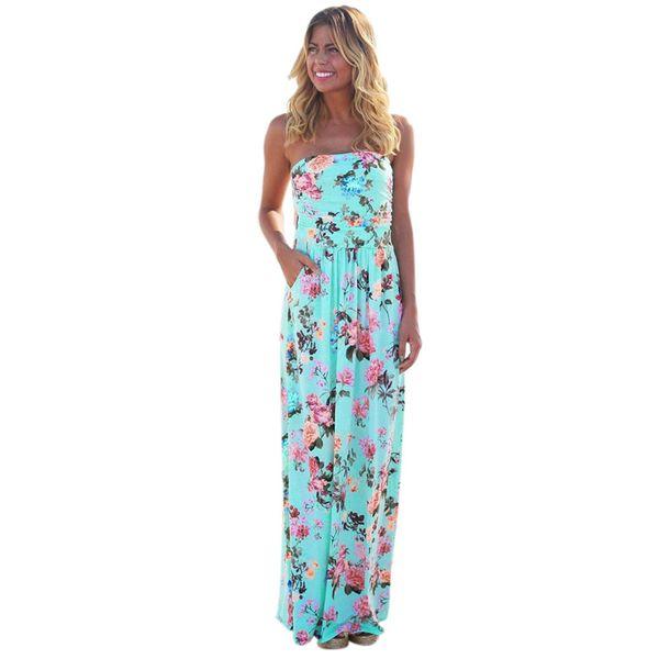 b55f4d7ba4e51 Womens Bandeau Holiday Long Dress Ladies Summer Floral Maxi Dress Ladies  Summer Dresses Casual Robe Fleurs Dames Jurkjes Preppy #496369 Womens ...