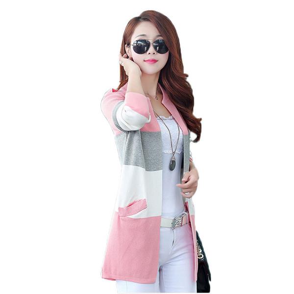 Women's Sweater Long Knit Cardigan Coat Korean Femme Jacket 2018 Spring Contrast Color Sweater Cardigans Women Big size f162