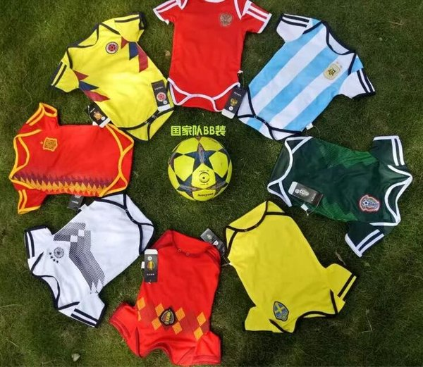 2018 Dünya Kupası İspanya bebek futbol formaları Kolombiya Meksika Rusya Bebek Tulumlar Arjantin İsveç Belçika Çocuklar jersey camisas de futebol Kitleri