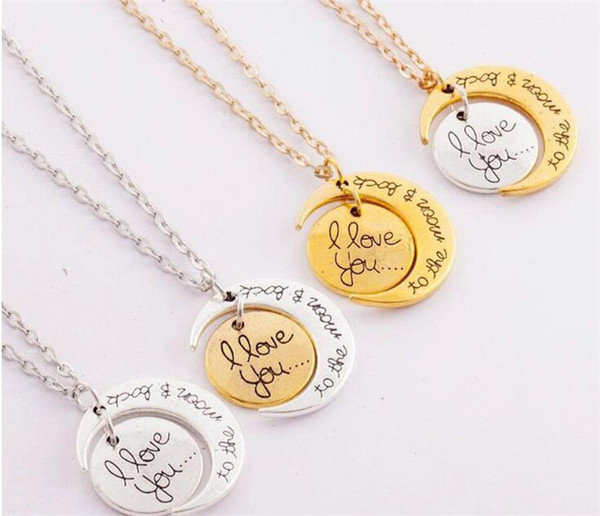 I Love You To The Moon and Back Necklace 2Colors Lobster Clasp Hot Pendant Necklaces