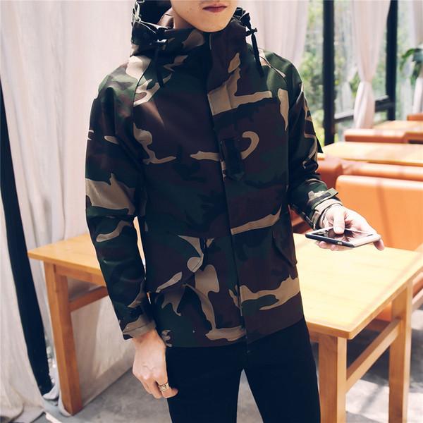 Hombres Casual Camuflaje Chaqueta verde militar Sudadera con capucha Estilo Safari Abrigo de manga larga Primavera Otoño Abrigos Outwear B25