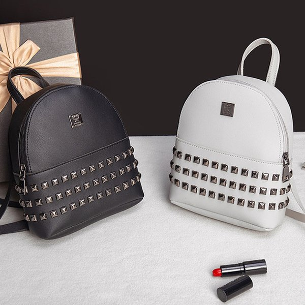 2019 Fashion Mini Backpack for Women Girl Female Korea Style Lady Luxury Famous Brand Small Back Pack Bag PU Leather Stud Rivet