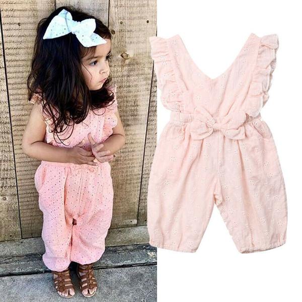 Kinder baby mädchen sommer niedlich strampler bogenknoten rüschen kurzarm rosa strampler overall einteilige kleidung sunsuit