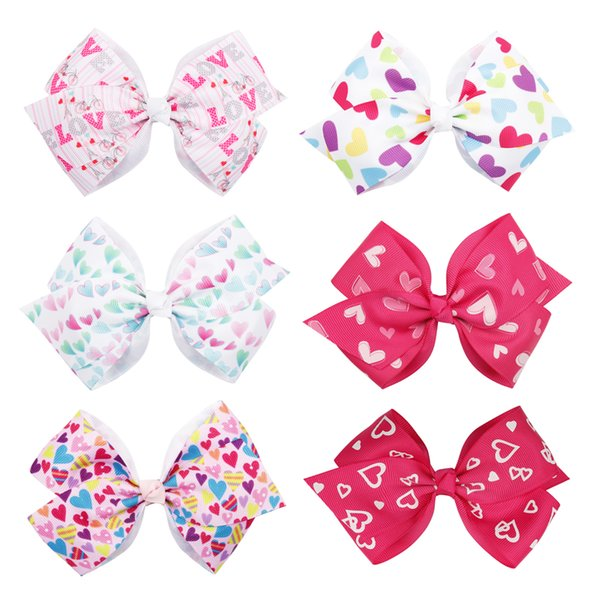 5 Inch Valentine's Day Hair Bow With Clips Handmade Grosgrain Ribbon Hairgrips Sweet Festival Gift For Girls Hair Accessories