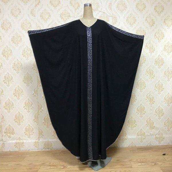 XGF833 elegante musulmán adulto Árabe Abaya turca Singapur perforación mangas murciélago grande oscilación vestido de Abaya Robe Dubai ropa islámica