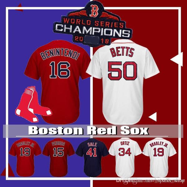 Boston Mookie Red Sox 50 Betts 2018 World Series Baseball da uomo 16 Andrew Benintendi 19 Jackie Bradley Jr. 28 JD Martinez 41 Chris Sale