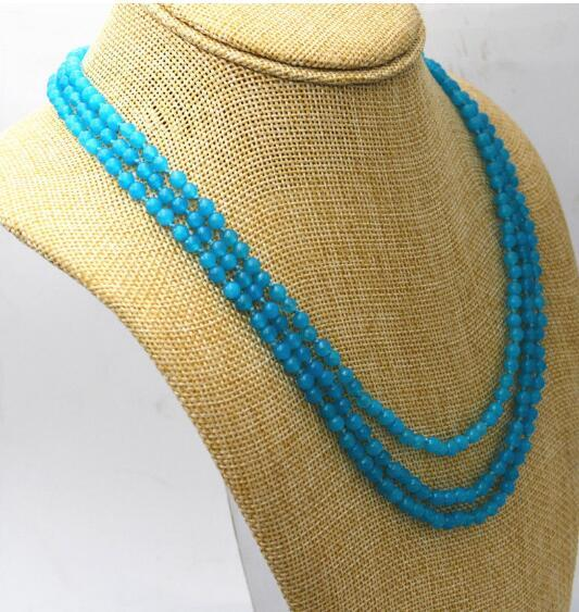"Jewelryr Jade Necklace 3 rows 4mm light blue Brazil Aquamarine gemstone bead necklace 17-19 ""Jewelr Free Shipping"