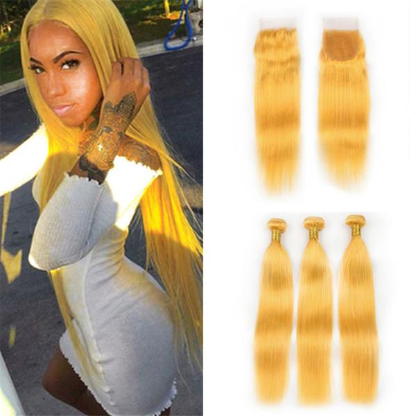 Armadura amarilla peruana del pelo humano de la Virgen 3 paquetes con el cierre Recto sedoso del pelo amarillo extensiones dobles de las tramas con el cierre del cordón