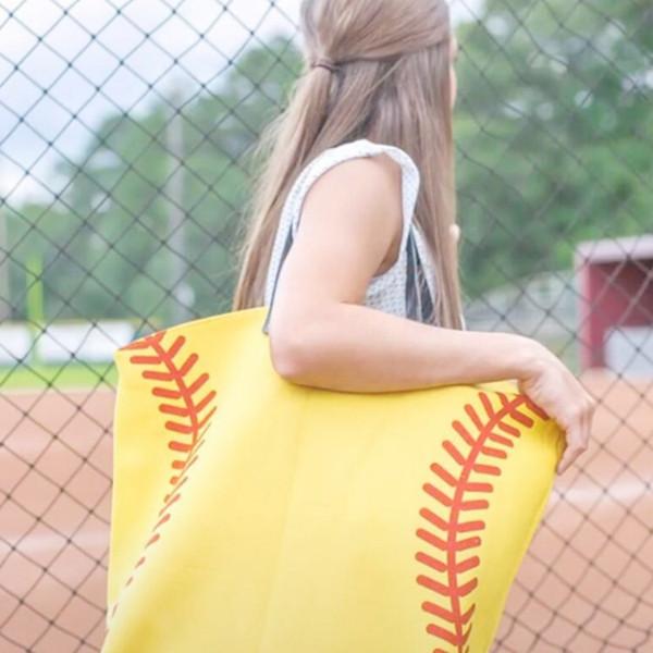 Secchio europeo e americano borsa alla moda e semplice borsa grande borsa da donna di tela, calcio softball Totes T2D5008