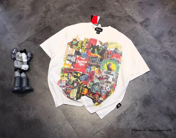 T-shirt das mulheres moda verão T-shirt graffiti impressão moda respirável impressão solta de manga curta em torno do pescoço das mulheres T-shirt