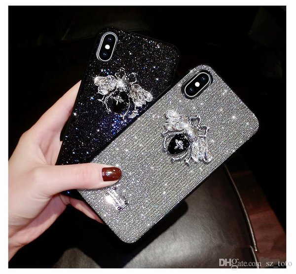 Mytoto uxury marca 3d carta de metal abelha rótulo de glitter diamante bling macio phone case para iphone 6 s 7 8 plus x xx xs max tampa bonito sexy