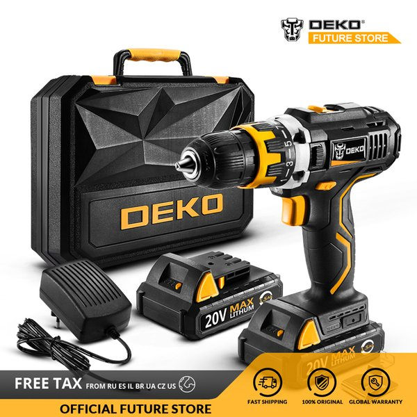 deko gcd20du2y 20volt max electric screwdriver cordless drill driver dc lithium-ion battery 1/2-inch variable speed power tools