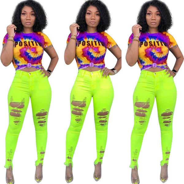 짧은 소매 Tie-dyed T 셔츠 여성 긍정적 인 HONEY 편지 인쇄 된 Tshirts Summer Tracksuit Top 스포츠 피트니스 Tee 캐주얼 탑 A42507