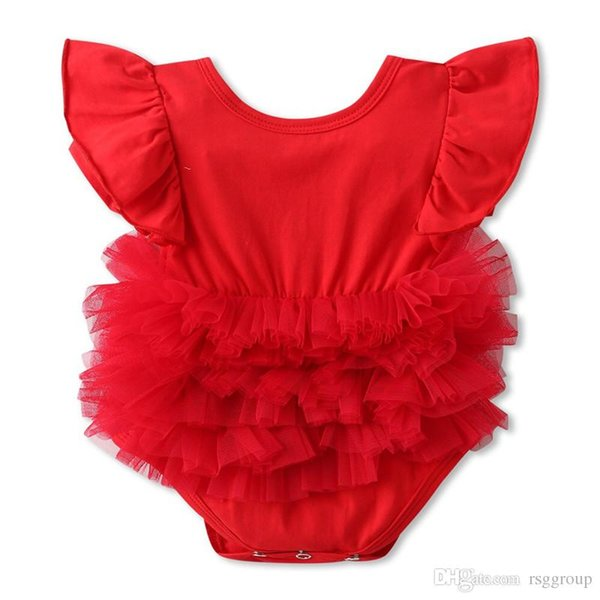 New Design Stylish INS Infant Toddler Girls O-neck Romper Dresses Summer Flying Sleeveless Pink & Red back Hollow Out Newborn Jumpsuits 0-2T