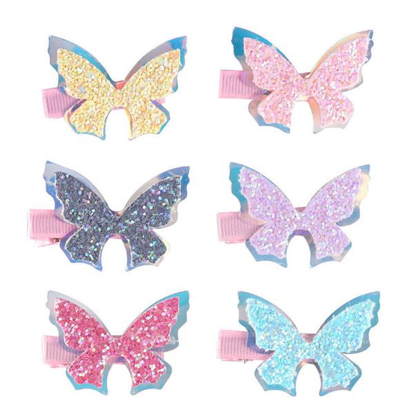 Novas borboleta do bebê 3d BB grampos de cabelo clips paetês meninas cartoon crianças presilhas designer de acessórios de cabelo acessórios do bebê A8110