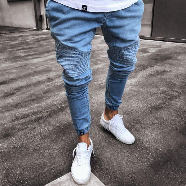 2019 Yeni Erkek Kot Siyah Mavi Sıska Kalem Denim Pantolon Katlanmış Diz Tasarım Kot Homme S - 3XL