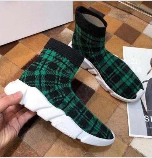 Yeni Paris Hız Eğitmenler Örme Çorap Ayakkabı Orjinal Lüks Tasarımcı Womens Sneakers Ucuz Yüksek Üst Kalite Günlük Ayakkabılar m4