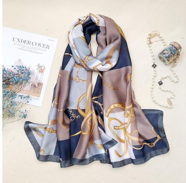 Top qualité femmes foulard été foulards de soie châles dame enveloppe douce pashimina femme Echarpe Designer plage volé bandana